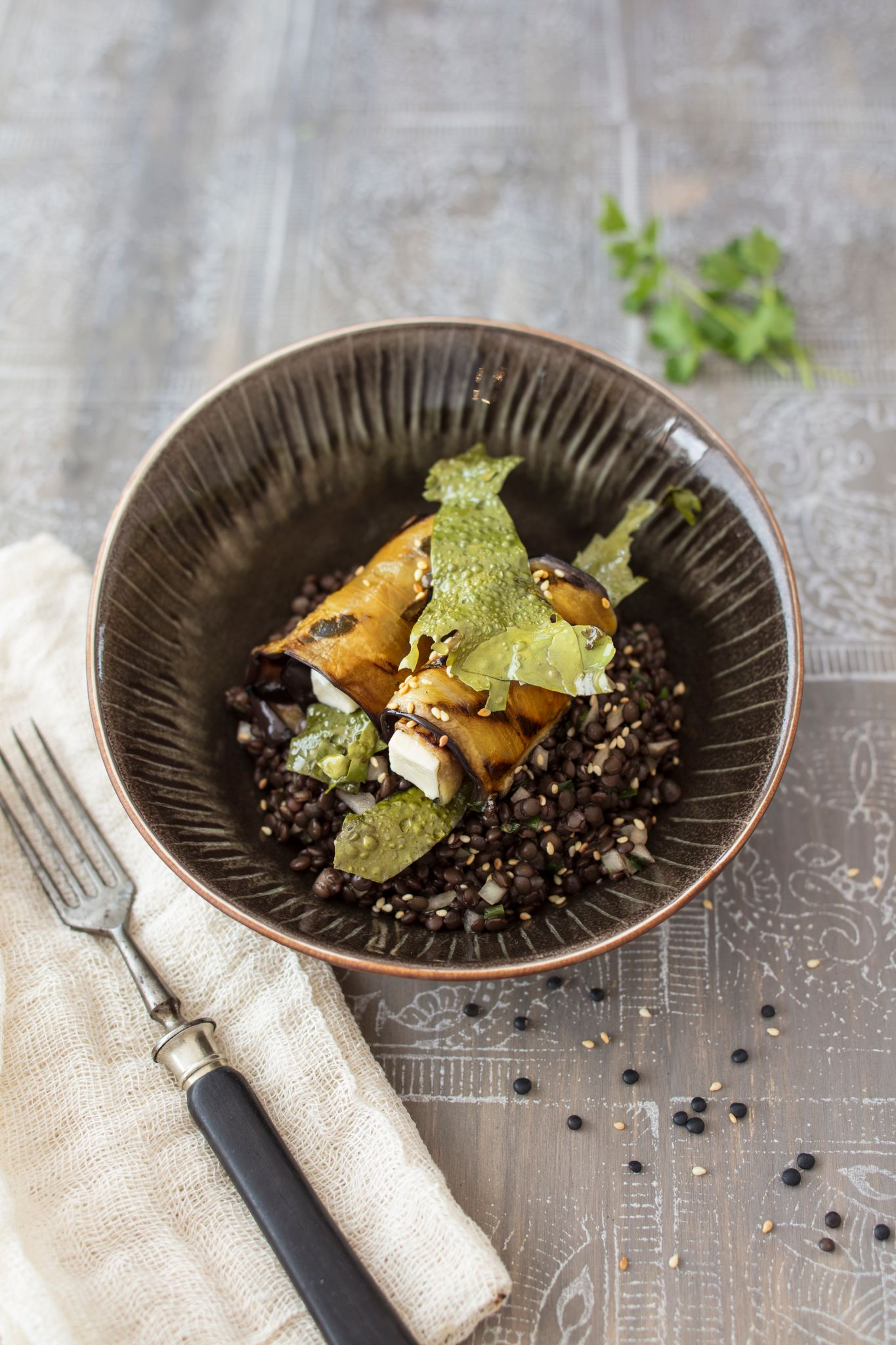 bowl of lentils and seaweed bacon