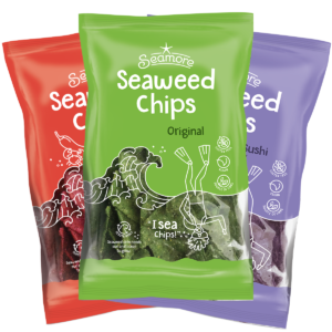three bags ofseamore seaweed chips in different flavors
